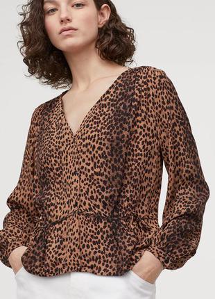 Натуральная блузка блуза с рукавами в леопардовый принт