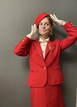 Винтажный костюм 100% шерсть woollmark красный vintage retro