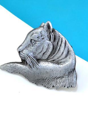 Большая брошь тигр серебряный