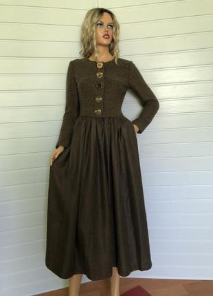 Лаконичное винтажное платье шерсть +лен