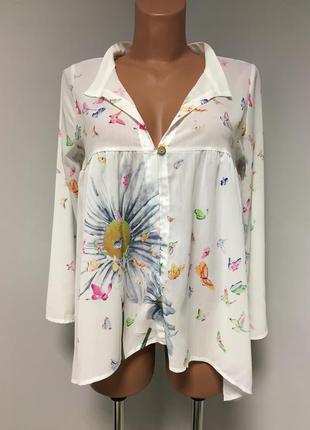 Шифоновая блуза с бабочками