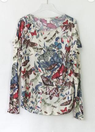 Блуза лонгслив красивая с рюшами в принт h&m s