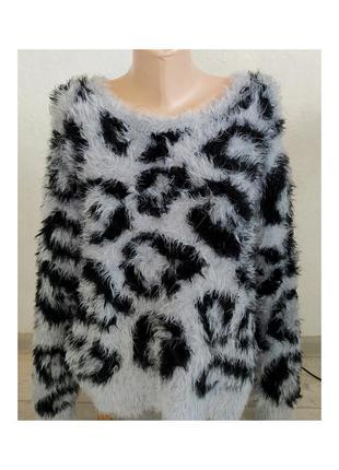 Актуальный теплый свитер травка, леопардовый принт, джемпер, стильный, трендовый