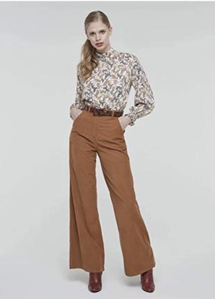 Широкие высокие вельветовые брюки палаццо sisley