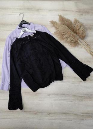 Хлопковая блуза рубашка прошва h&m p xl-xxl