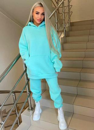Костюм на флисе флис теплый худи толстовка с капюшоном карманом кенгуру удлиненная штаны брюки на резинке свободного кроя модный трендовый