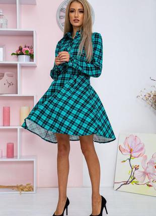 Платье в клетку цвет бирюзово-черный