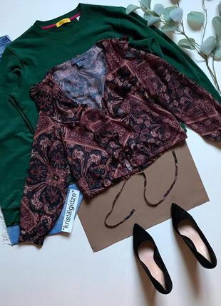 Последняя цена! шикарная нежная блуза с оборками в узоры р. 10 38 м eur46