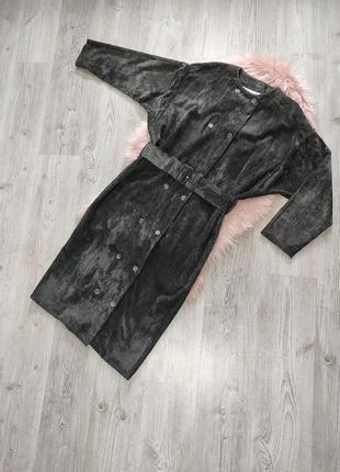 Вельветовое платье миди платье-рубашка