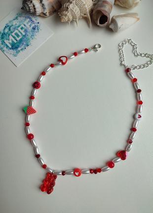 Чокер из бисера и бусин, белый, красный, червоний, білий, жемчуг, мишка, колье, ожерелье