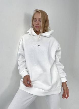 Костюм удлинённое объемное худи с капюшоном, и штаны на высокой посадке с карманами, накатка модный трендовый теплый на флисе флис