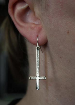 Крутые серьги рок готика мистика кресты