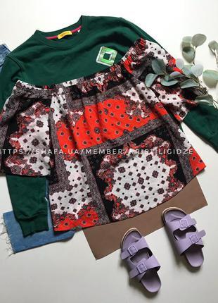 Последняя цена! блузка блуза в узоры с открытыми плечами  р. 18 46 xxxl eur 56