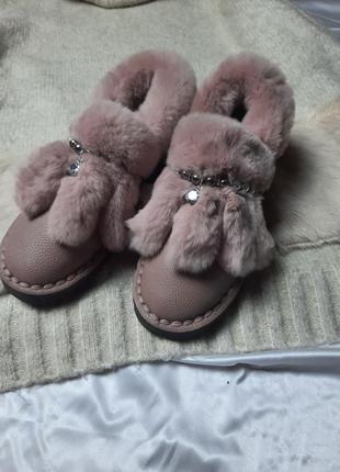 Туфли с мехом и камнями