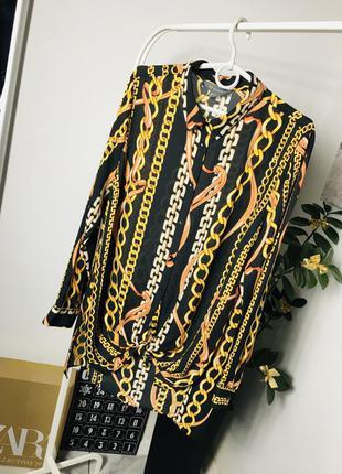 Красивая шифоновая блуза с цепями в стиле ralph lauren