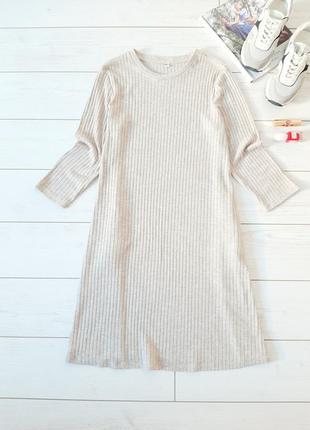 Брендовое платье  трапеция с карманами_трикотаж в рубчик