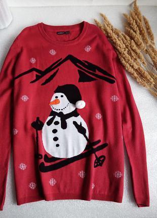✨класний, довгий светр із сніговиком , свитер батал✨