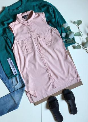 Последняя цена!длинная рубашка без рукавов безрукавка розовая р. 14 42 xl eur 50