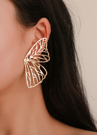 Серьги бабочки цвет под золото / большая распродажа!