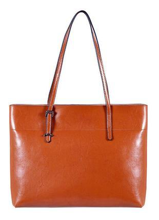 Женская кожаная рыжая сумка шопер