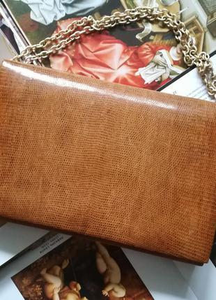 Винтажный клатч из лакированной кожи змеи,размер идеальный под i-pad