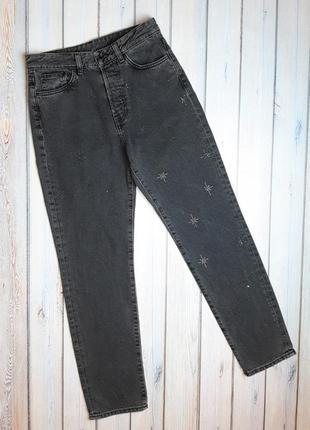 💥1+1=3 зауженные серо-черные мом mom джинсы со стразами высокая посадка, размер 44 - 46