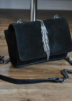 Кожаная сумка кроссбоди zara / шкіряна сумка