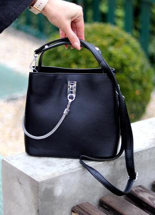 Удобная городская женская черная мини сумка почтальонка кросс боди через плечо  к. 77025