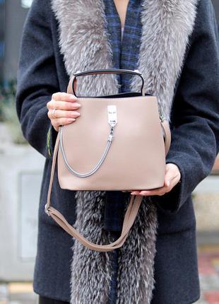 Удобная городская бежевая женская мини сумка почтальонка кросс боди через плечо  к. 77026