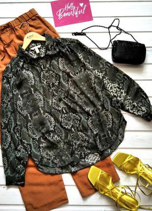 Шифоновая блуза h&m в питоновый принт, рубашка в змеиный принт