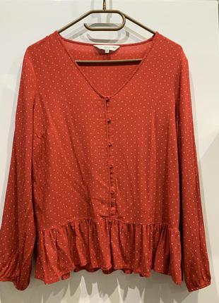 Блуза красная в горошек из вискозы