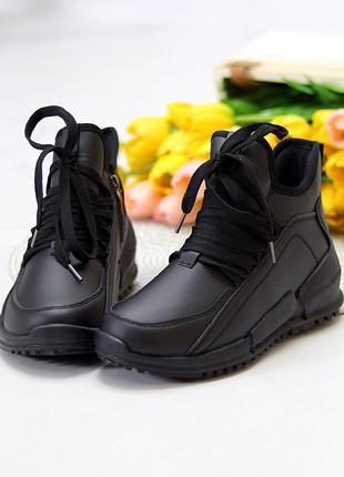Модельные высокие черные женские кроссовки на флисе в ассортименте размеры 36-41 к. 11687
