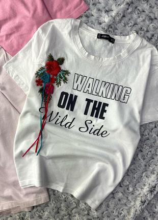 Хлопковая футболка с принтом fb sister