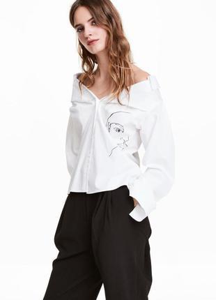H&m шикарная белая рубашка из спущенными плечами