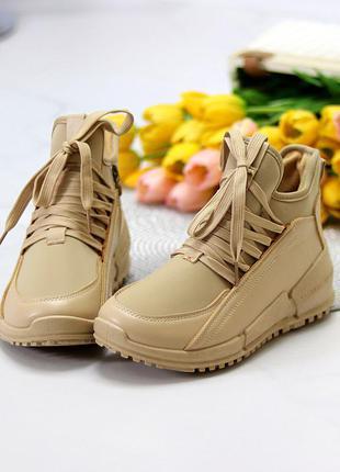 Миксовые высокие бежевые женские кроссовки на флисе в ассортименте к. 11689