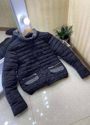 Чёрная укороченная куртка , курточка, базовый микропуховик