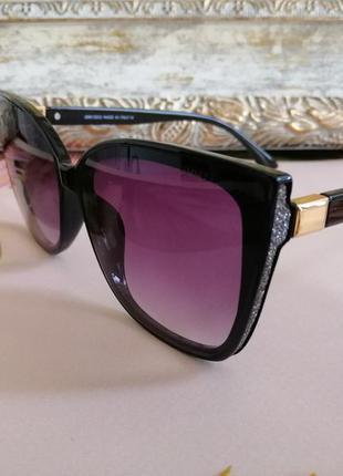Эксклюзивные чёрные солнцезащитные женские очки лисички с блёстками