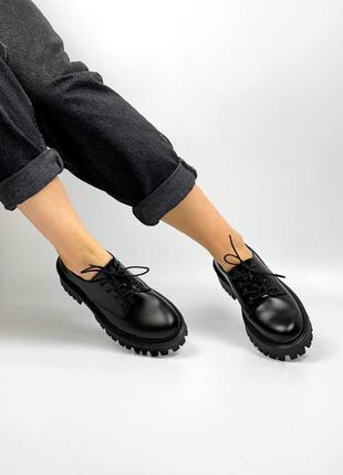 Ботинки туфли натуральная кожа чёрные женские броги