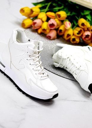 Спортивные белые женские ботинки кроссовки на молнии осень-зима 2021  к. 11770