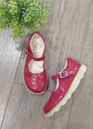 Удобные кожаные лак красные туфли на лепучке