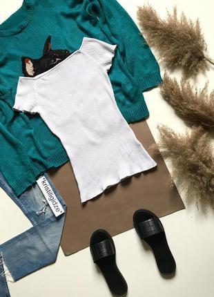 Футболка блуза белая в рубчик р. м 10 38 eur46