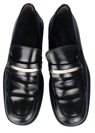 Итальянские черные мужские кожаные туфли от люкс бренда hugo boss (оригинал)
