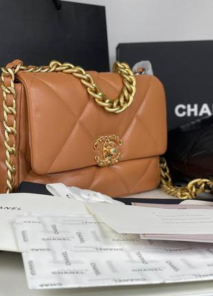 Женская премиальная рыжая сумка в стиле шанель chanel