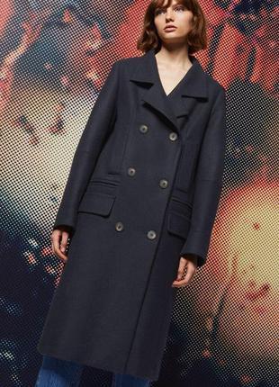 Стильное двубортное шерстяное пальто деми topshop размер 18