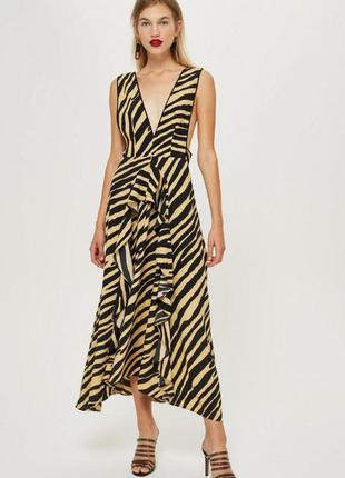Оригинальное черное платье сарафан а-ля турбозербра от topshop size uk 14