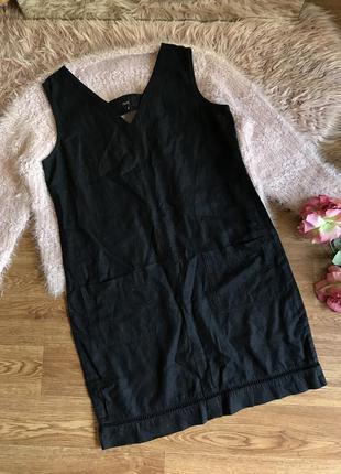 Чёрное льняное платье (12р)l