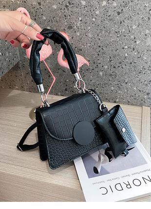 Модная черная сумка с маленьким кошельком стильная сумочка 3081