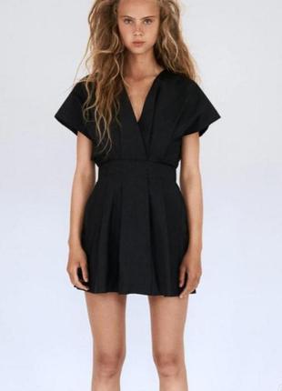Черное платье 100 % коттон зара zara