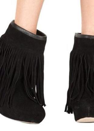 Демисезонные замшевые ботинки с бахромой 38 р