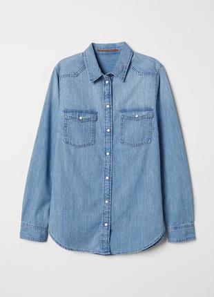 Рубашка, сорочка, джинсовая, джинсова, коттоновая, h&m